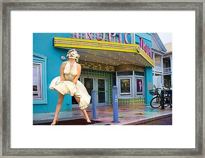 Marilyn Monroe In Front Of Tropic Theatre In Key West Framed Print by David Smith
