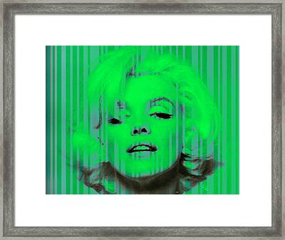 Marilyn Monroe In Green Framed Print by Kim Gauge