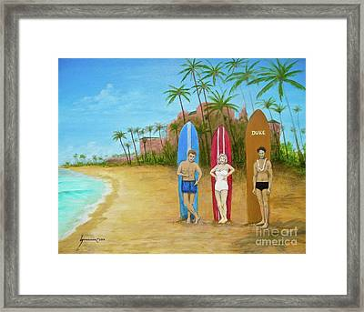 Marilyn Monroe And James Dean In Waikiki Framed Print by Jerome Stumphauzer