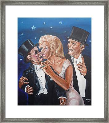 Framed Print featuring the painting Marilyn Monroe Marries Charlie Mccarthy by Bryan Bustard
