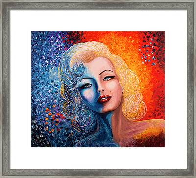 Framed Print featuring the painting Marilyn Monroe Original Acrylic Palette Knife Painting by Georgeta Blanaru