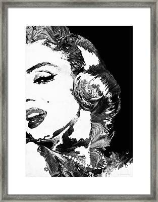 Marilyn Monroe Painting - Bombshell Black And White - By Sharon Cummings Framed Print by Sharon Cummings