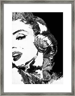 Marilyn Monroe Painting - Bombshell Black And White - By Sharon Cummings Framed Print