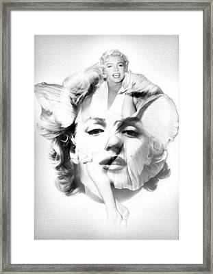 Marilyn Monroe Portrait In Black And White Framed Print by Diana Van