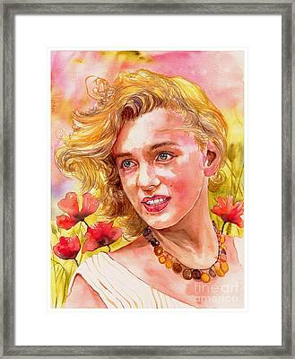 Marilyn Monroe With Poppies Framed Print