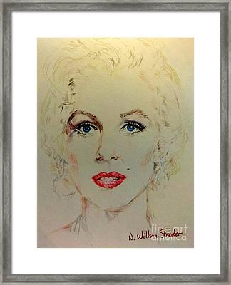 Marilyn In White Framed Print
