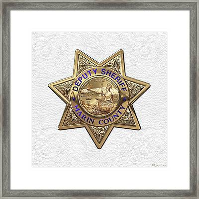 Framed Print featuring the digital art Marin County Sheriff Department - Deputy Sheriff Badge Over White Leather by Serge Averbukh