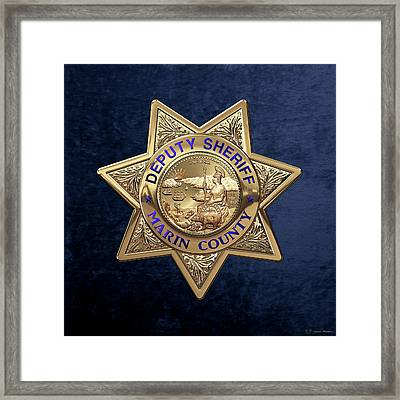 Framed Print featuring the digital art Marin County Sheriff's Department - Deputy Sheriff's Badge Over Blue Velvet by Serge Averbukh