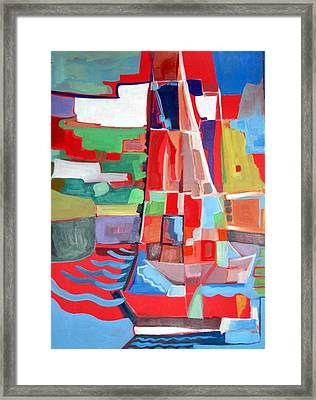 Marina Abstract  Acrylics Paintings Framed Print by Therese AbouNader