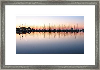 Marina At Dawn Framed Print by Farol Tomson