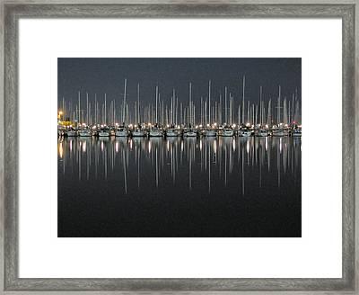 Marina At Night Framed Print by Farol Tomson