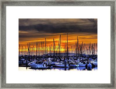 Marina At Sunset Framed Print