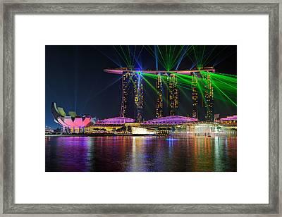 Marina Bay Sands Lasershow Framed Print by Martin Fleckenstein