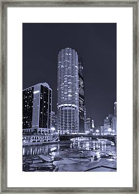 Marina City On The Chicago River In B And W Framed Print by Steve Gadomski
