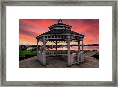Marina Gazebo Sunset Framed Print by Rick Lawler