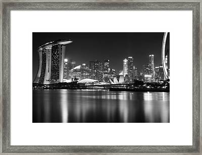 Marina South Skyline In The Night Framed Print by Cho Me