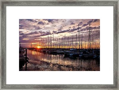Marina Sunset Framed Print by Mike Reid