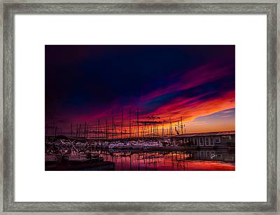 Marina Sunset Framed Print
