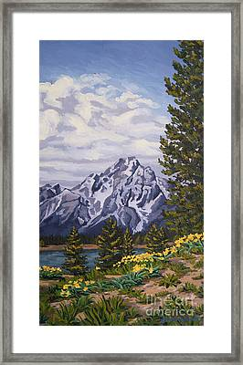 Framed Print featuring the painting Marina's Edge, Jenny Lake, Grand Tetons by Erin Fickert-Rowland