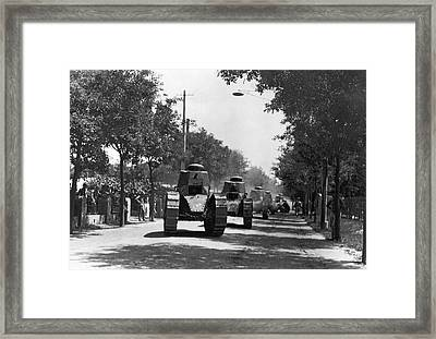 Marine Corps Tanks In China Framed Print by Underwood Archives