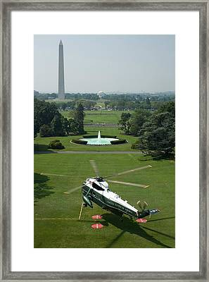 Marine One Lifts Off From The South Framed Print by Everett