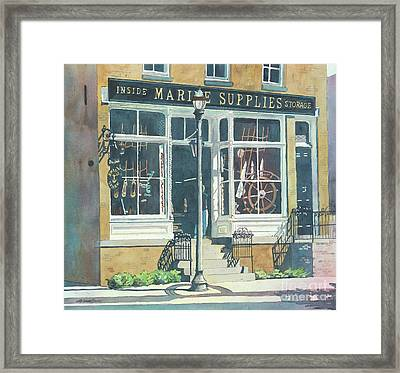 Framed Print featuring the painting Marine Supply Store by LeAnne Sowa