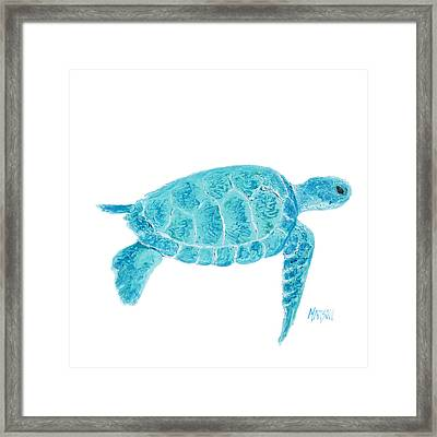 Marine Turtle Painting On White Framed Print