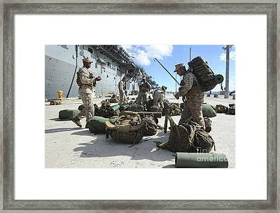 Marines Move Gear During An Embarkation Framed Print