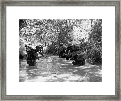 Marines Use Stream For Trail Framed Print by Underwood Archives