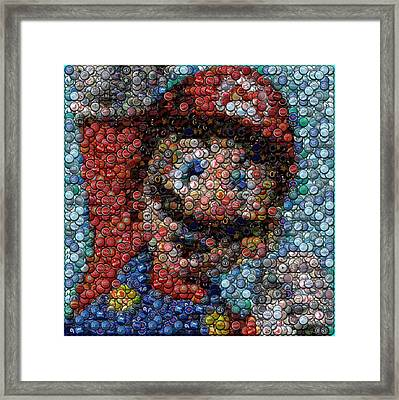 Mario Bottle Cap Mosaic Framed Print by Paul Van Scott