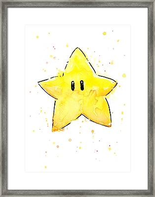 Mario Invincibility Star Watercolor Framed Print by Olga Shvartsur