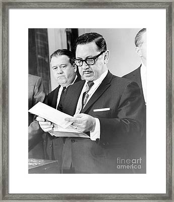 Mario Procaccino Reads One Of The Serial Bonds In His Office. 1966 Framed Print by Anthony Calvacca