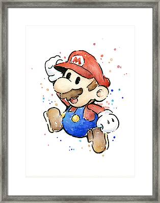 Mario Watercolor Fan Art Framed Print by Olga Shvartsur