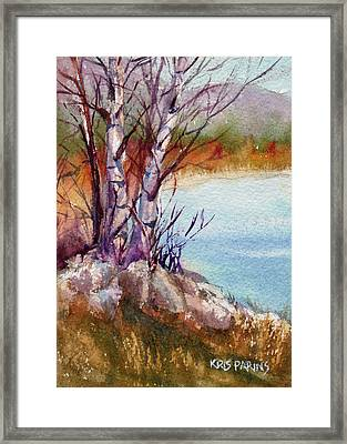 Framed Print featuring the painting Mari's Birches by Kris Parins