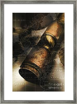Maritime Navigation Telescope With Map Overlay Framed Print