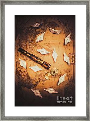 Maritime Origami Ships On Antique Map Framed Print by Jorgo Photography - Wall Art Gallery