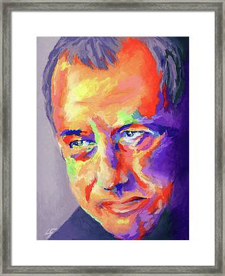 Framed Print featuring the painting Mark Knopfler by Stephen Anderson