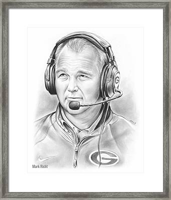 Mark Richt  Framed Print by Greg Joens