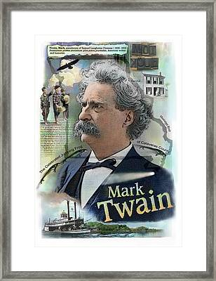 Framed Print featuring the mixed media Mark Twain by John Dyess