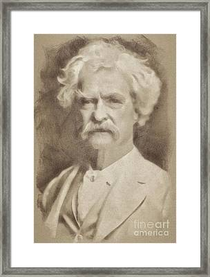 Mark Twain, Literary Legend By John Springfield Framed Print by John Springfield