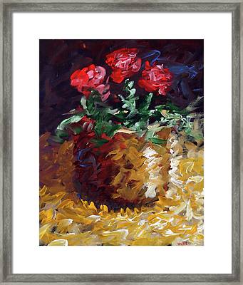 Framed Print featuring the painting Mark Webster - Abstract Electric Roses Acrylic Still Life Painting by Mark Webster