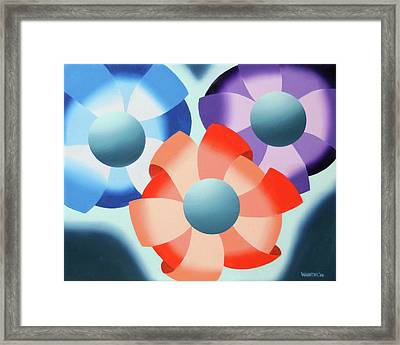 Framed Print featuring the painting Mark Webster - Abstract Futurist Flowers 2 Oil Painting  by Mark Webster