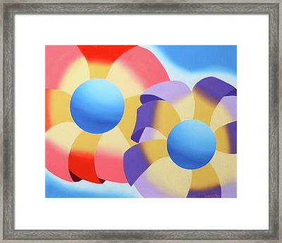 Mark Webster - Abstract Futurist Flowers Oil Painting Framed Print by Mark Webster