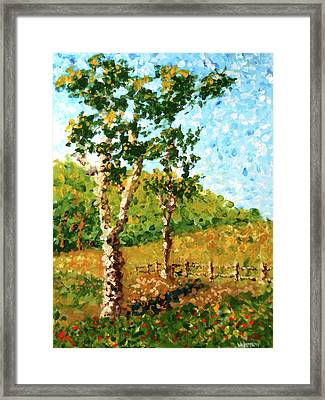 Mark Webster - Abstract Tree Landscape Acrylic Painting Framed Print by Mark Webster