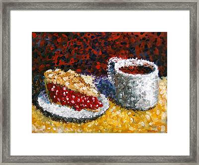 Mark Webster - Impressionist Cherry Pie With Coffee Acrylic Still Life Painting Framed Print by Mark Webster