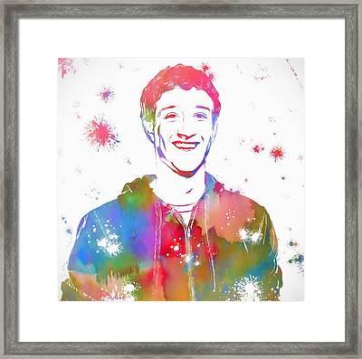 Mark Zuckerberg Paint Splatter Framed Print