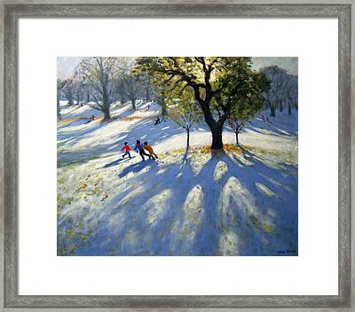 Markeaton Park Early Snow Framed Print by Andrew Macara