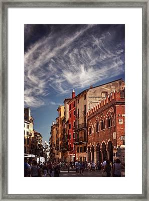 Market Day In Verona Framed Print