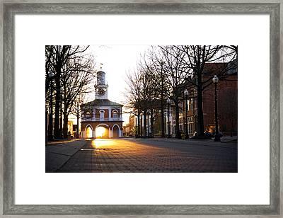 Market House Sunrise - Fayetteville - January 29 2015  Horizon Framed Print by Matt Plyler