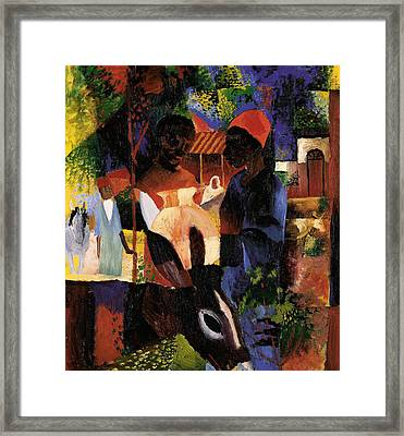 Market In Tunis Framed Print by August Macke